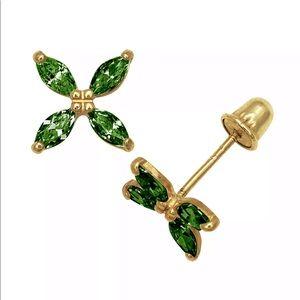 Jewelry - 14k Solid Gold Blue Sapphire Fliwer Stud Earrings